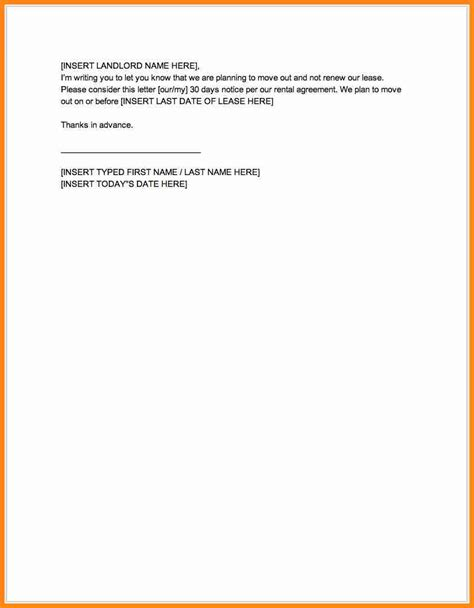 30 day notice to landlord letter template 9 30 day notice to landlord sle letter driver resume