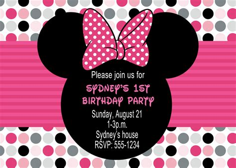 minnie mouse birthday party invitations drevio