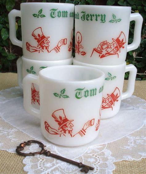 vintage tom and jerry mugs hazel atlas milk glass eggnog 1950s set of 5 toms