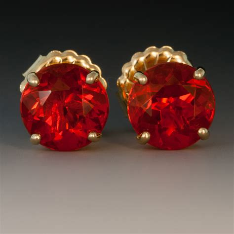 mexican fire opal 18k yellow gold mexican fire opal ear studs 4 13 carats