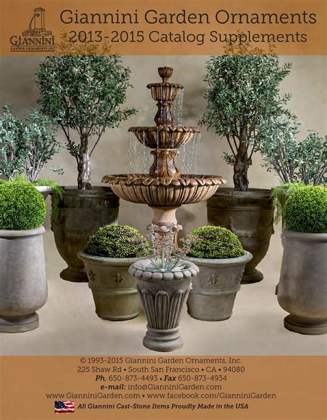 Giannini Garden Ornaments by Giannini Garden 2012 2015 Catalog Supplement By Giannini