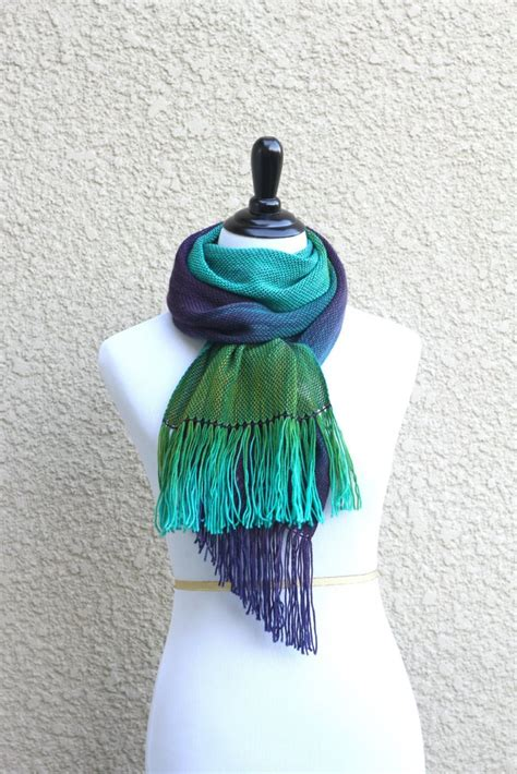 green and purple l shade hand woven scarf in green and purple colors kgthreads