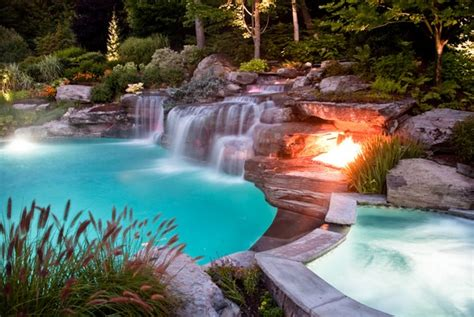 inground pool with waterfall luxury inground swimming pools by cipriano landscape