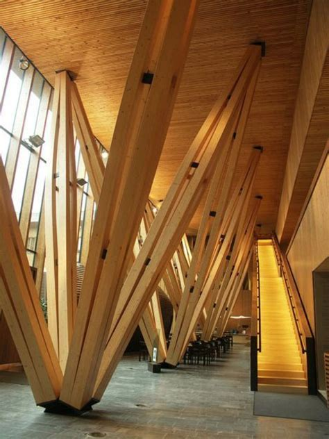 wood architecture forest research center is built logically of wood