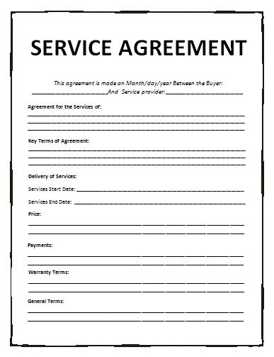 service agreement template free word templatesfree word
