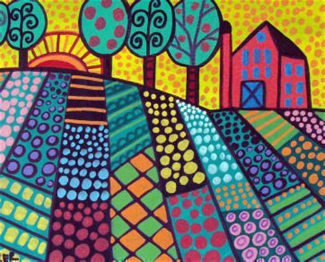 pattern in art ks2 folk art print landscape tree art poster print of painting by