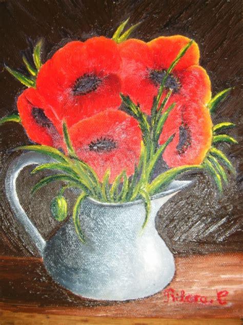 tableau peinture fleur vase coquelicot les coquelicots