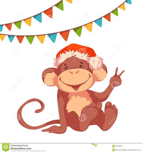 new year bunting vector sweet monkey with flags and hat for 2016 new year stock