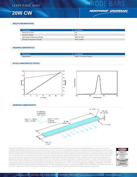 diodes ceo laser diode bar 20 watt 808nm northrop grumman ceo semiconductor laser