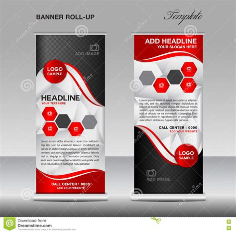 red roll up banner template vector roll up stand banner