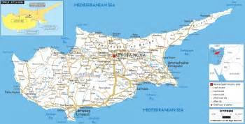 map of in road map of cyprus ezilon maps