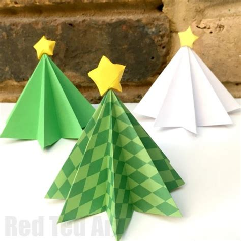 christmas tree paper folding easy origami tree diy ted s