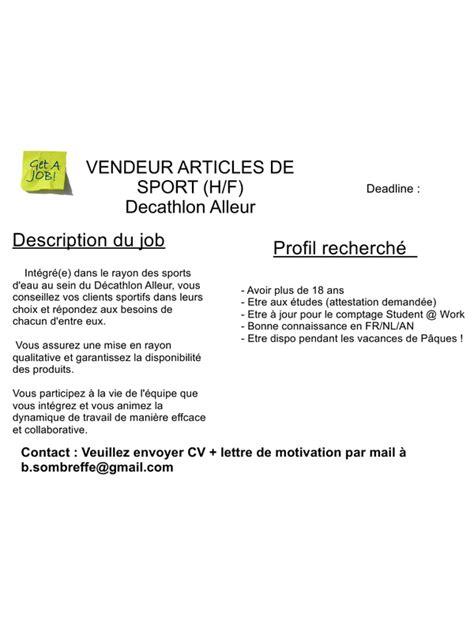 Vendeur Decathlon Lettre Motivation 60 Etudiant D 233 Cathlon P 226 Ques Pdf Par Val 233 Ry Lequeux