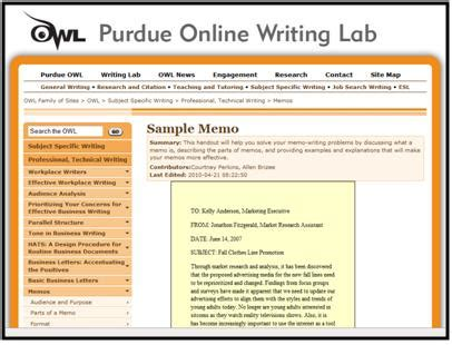 Memo Format Owl Purdue Thesis Statement And Memo Format A Study