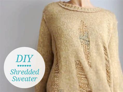 diy sweaters diy shredded sweater