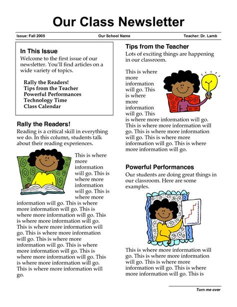 newsletter templates for teachers newsletter templates