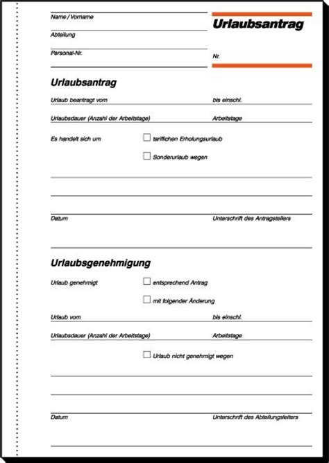 Urlaubsantrag Schreiben Muster Sigel Ur515 Urlaubsantrag