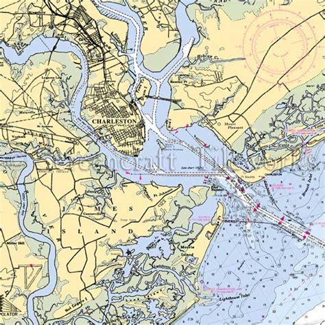 Kitchen Island Cutting Board by South Carolina Charleston Harbor Nautical Chart Decor