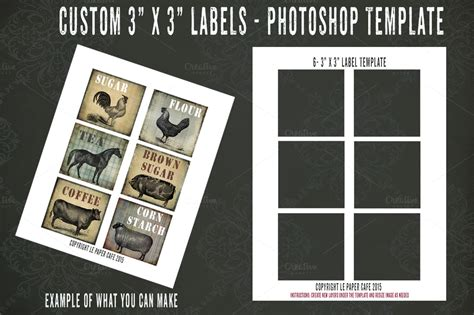 Photoshop Square 3x3 Label Template Card Templates On Creative Market 3x3 Label Template