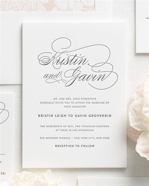 invitation script script elegance letterpress wedding invitations letterpress wedding invitations by shine