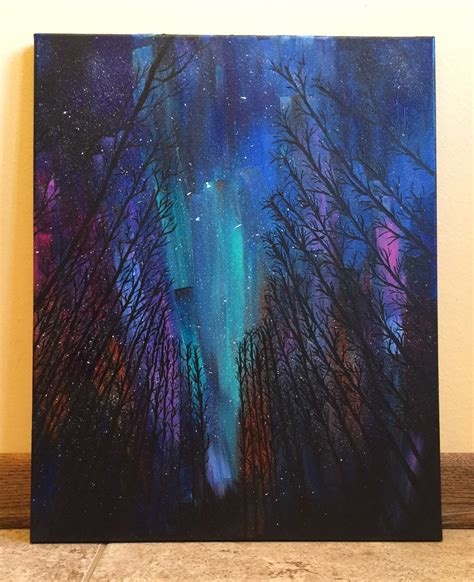 acrylic paint for large canvas northern lights large 16x 20 acrylic painting