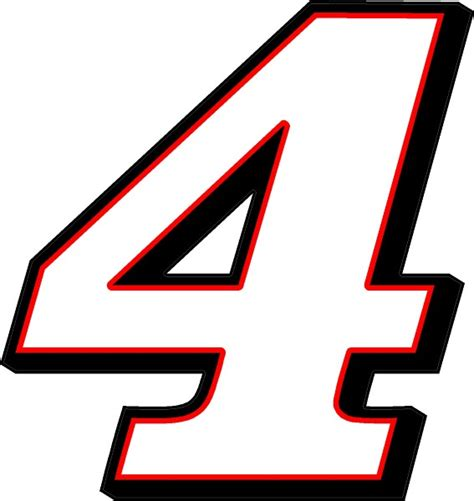 race number 4 decal sticker 3 color a