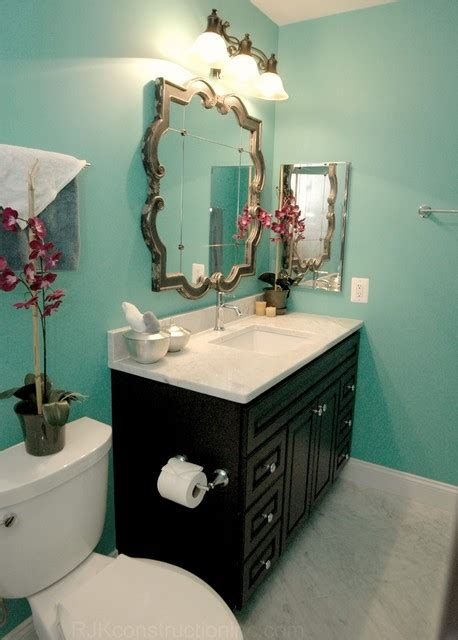 turquoise guest bathroom eclectic bathroom other metro by rjk construction inc