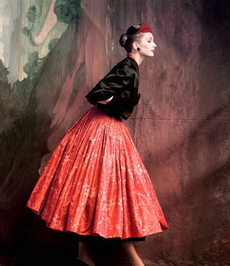 colorful fashion on vogue from the 1940s and 1950s