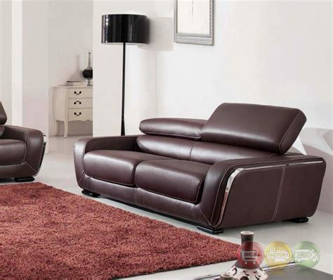 Stylish Contemporary Modern Brown Genuine Italian Leather Stylish Leather Sofa