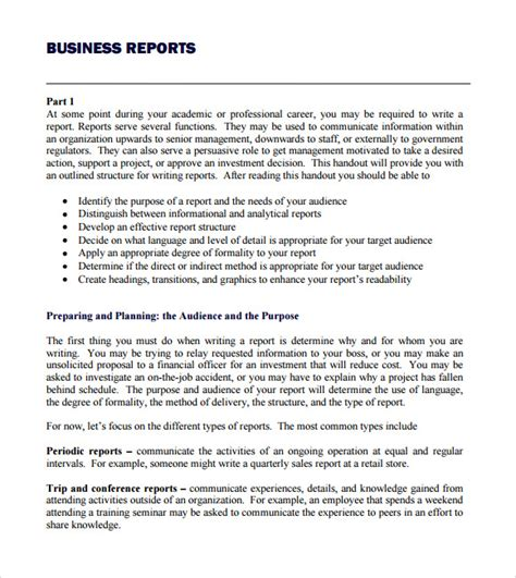 report layout template 8 business report templates free sles exles