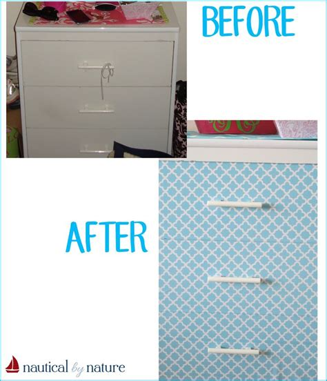 contact paper desk makeover nautical by nature diy contact paper dresser diy