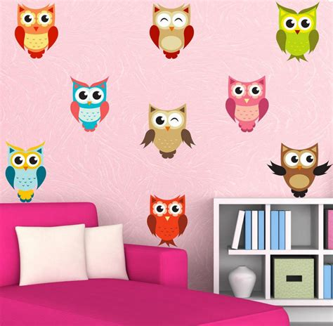 owl bedroom wall stickers full colour owl stickers wall decal cute set of by