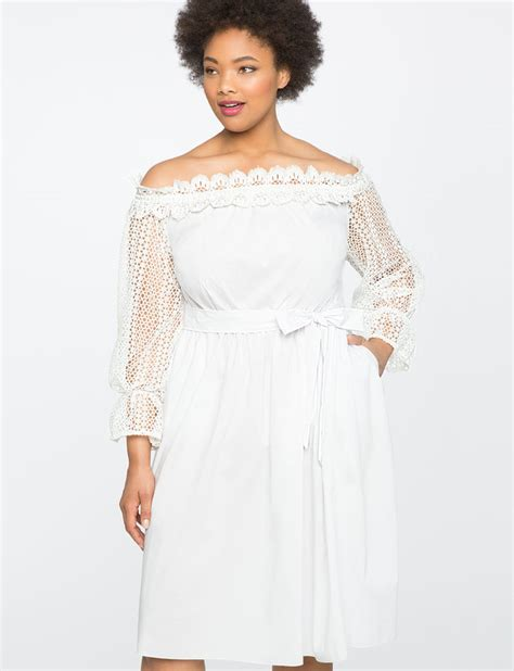 43798 White Trim Dress studio the shoulder dress with lace trim s plus size dresses eloquii