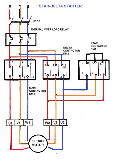 delta starter wiring diagram circuit and