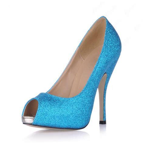 charming blue stiletto heels peep toe prom evening shoes