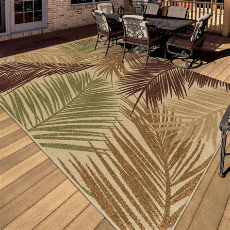 Orian Rugs Indoor Outdoor Leaves Bungalow Palms Multi Area Large Outdoor Rugs