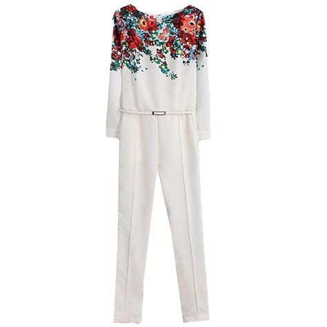 floral pattern jumpsuits amazon com finejo new womens white round neck long sleeve
