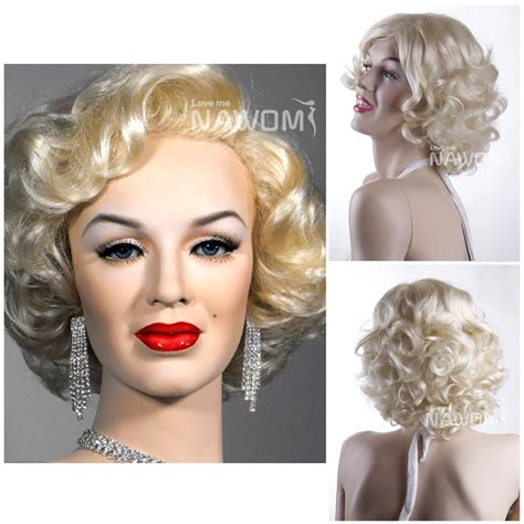 neck length naturally curly hairstyles marilyn monroe hairstyle kanekalon side swept bang blonde