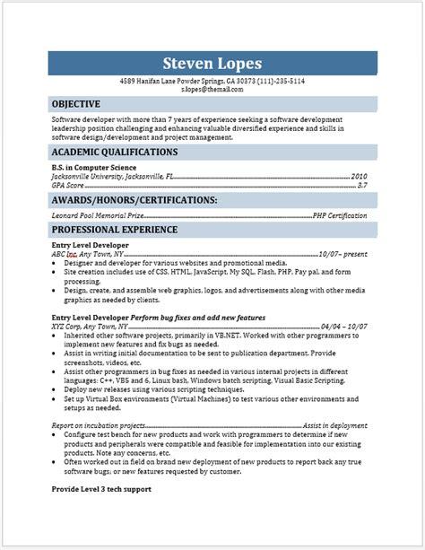 Sle Resume For Entry Level Web Developer entry level web developer resume blue layouts