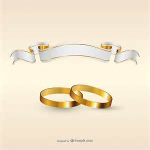wedding rings and ribbon flag vector free download