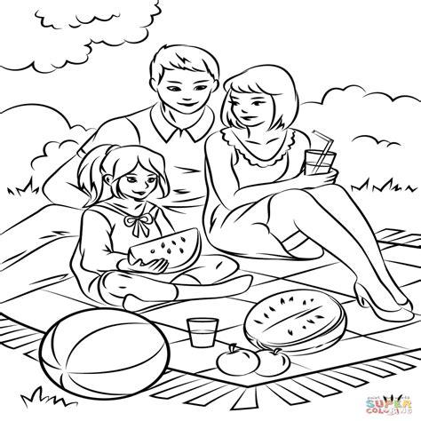 juegos de familia para colorear imprimir y pintar dibujo de picnic de la familia para colorear dibujos para