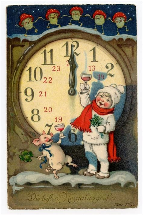 vintage christmas postcard clock pigs mushrooms german xmas  year card vintage happy