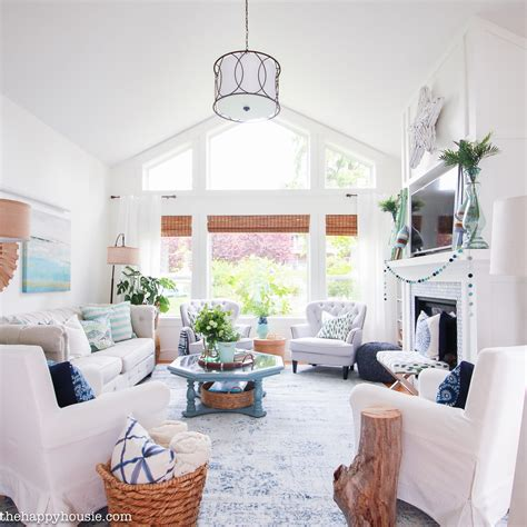 the living room tour beachy blue green summer living room tour the happy housie