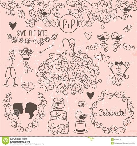 wedding doodle vector free doodle style wedding vector set with dress