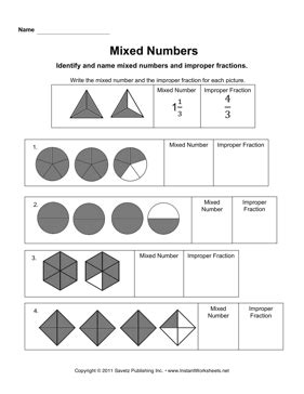 Mixed Numbers To Improper Fractions Worksheet by Mixed Numbers
