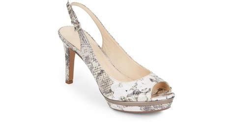 Joston Printed Peep Toe Wedges By Nine West by Nine West Able Printed Slingback Pumps In Gray Lyst