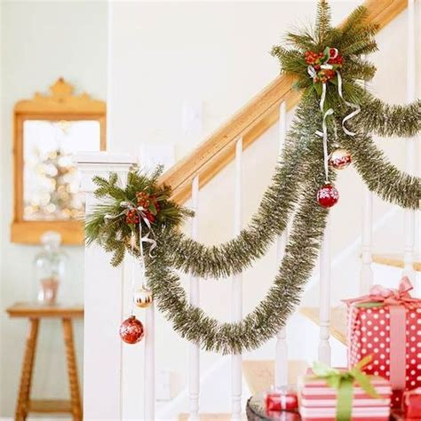 decorating banisters for christmas decorate the stairs for christmas 30 beautiful ideas