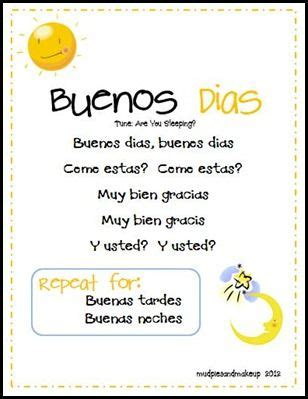 song in spanish mudpies and make up spanish circle time printables free