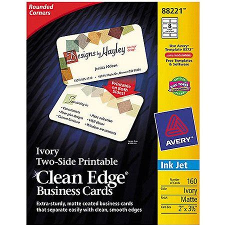 avery clean edge busines cards inkjet template avery two side printable clean edge rounded corner inkjet