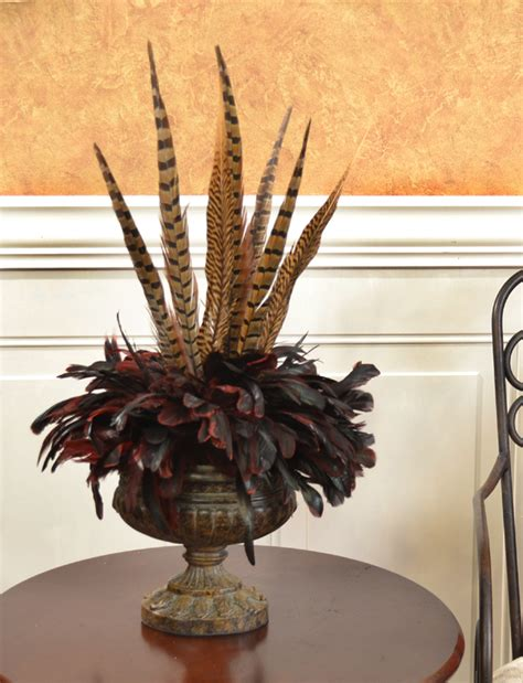 fall centerpieces with feathers bold and exotic pheasant feather floral arrangement nc122